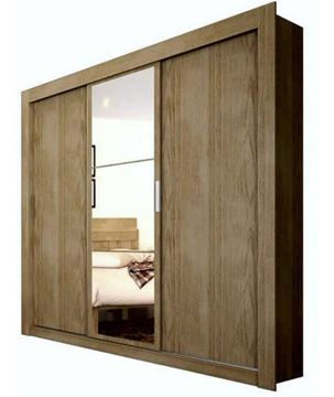 Imagen de Ropero Herval 3p corredizas almendra espejo 1681 4 Cajas